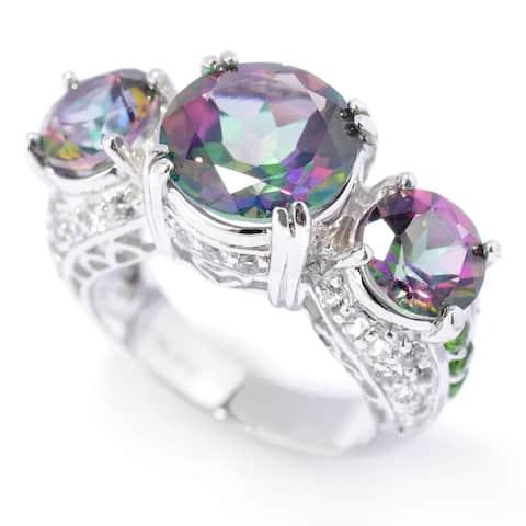 925 Sterling Silver Chrome Diopside,Mystic Topaz,White Topaz Ring- Size 6