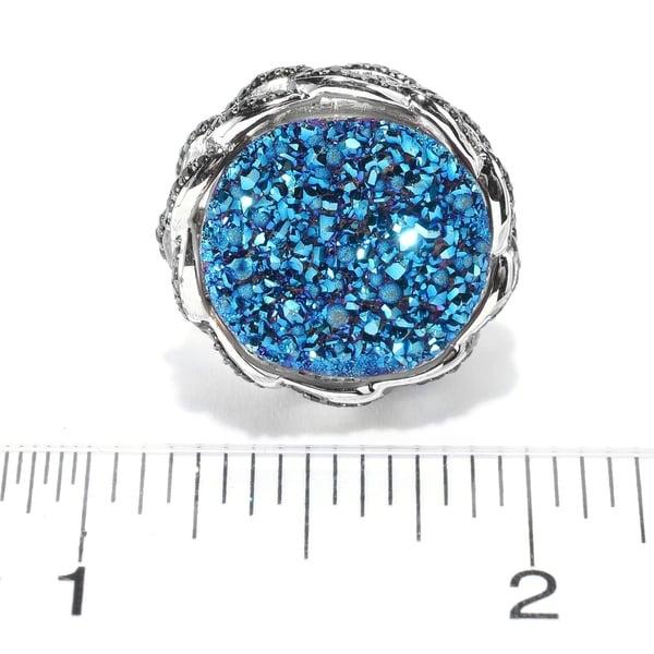 925 Sterling Silver Black Spinel,Blue Drusy Ring