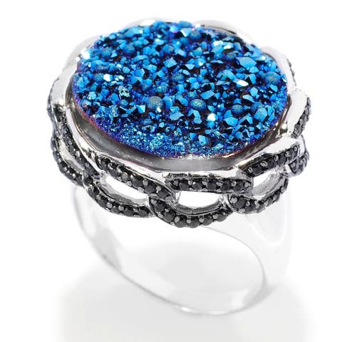 925 Sterling Silver Black Spinel,Blue Drusy Ring