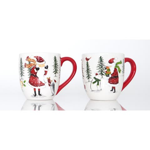 Holiday Cheer Red Mugs Set of 2