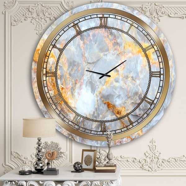 Designart 'Fire and Ice Marble' Glam Wall Clock