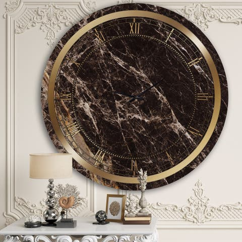 Designart 'Brown Marble II' Glam Wall Clock