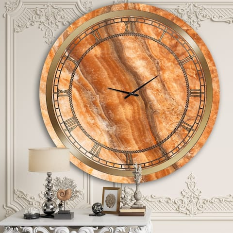 Designart 'Orange Marble III' Glam Wall Clock