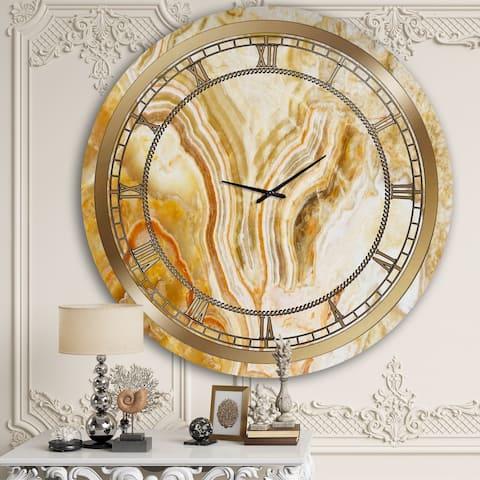 Designart 'Yellow Marble' Glam Wall Clock