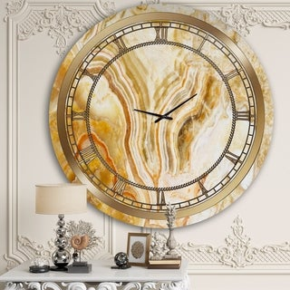 Designart 'Yellow Marble' Glam Wall Clock