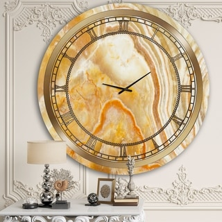 Designart 'Fire Marble' Glam Wall Clock