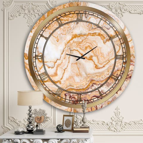 Designart 'Orange Marble' Glam Wall Clock