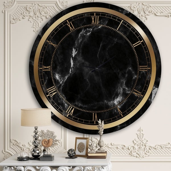 Designart 'Black Marble' Glam Wall Clock