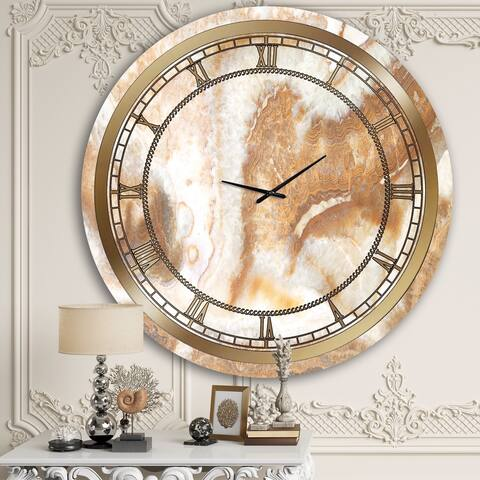 Designart 'Brown Marble III' Glam Wall Clock