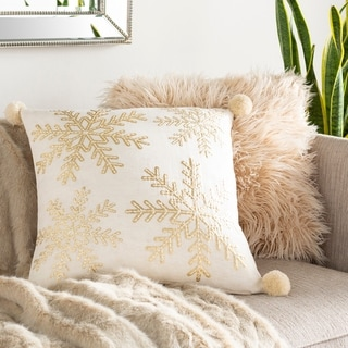 Tahlia Snowflake Embroidered 20-inch Down or Poly Throw Pillow
