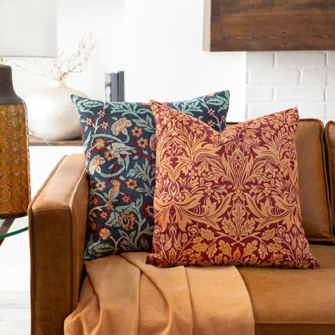 Storey Embroidered Damask Throw Pillow Cover