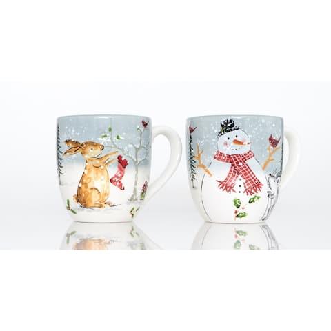 Holiday Cheer Mugs White Set of 2