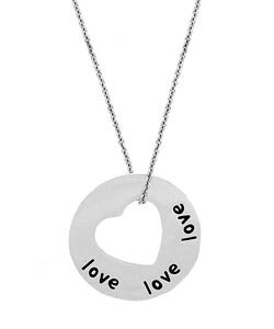 Mondevio Sterling Silver 'Love' Heart Necklace
