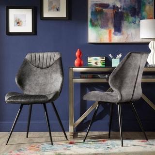 Bannantine Black Finish Grey Velvet Dining Chairs (Set of 2) by iNSPIRE Q Modern