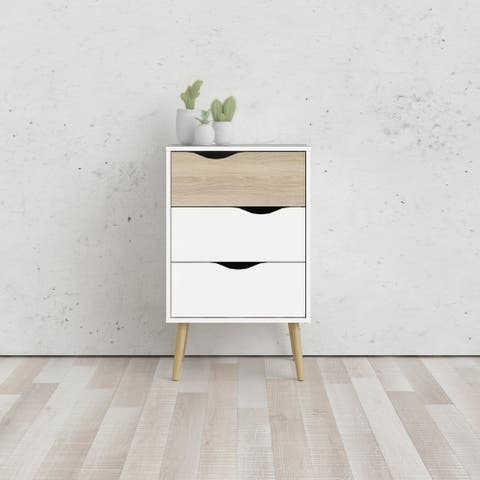 Carson Carrington Kristiansund White and Oak Structure 3-Drawer Nightstand