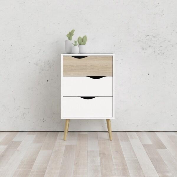 Carson Carrington Kristiansund White and Oak Structure 3-Drawer Nightstand
