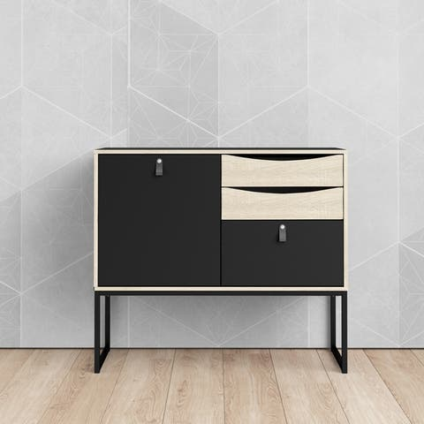 Carson Carrington Stubbe Black Matte and Oak Structure 1-Door Sideboard with 3-Drawers
