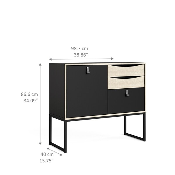 Carson Carrington Black Matte and Oak Structure 1-Door Sideboard with 3-Drawers