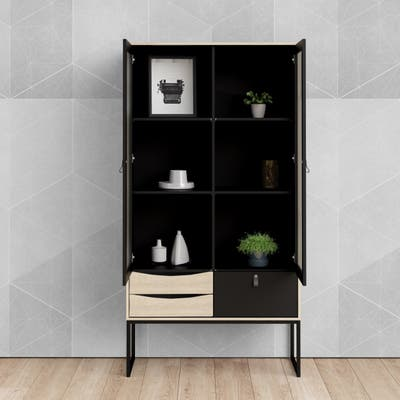 Carson Carrington Stubbe Black Matte and Oak Structure 2-Door China Cabinet with 3-Drawers