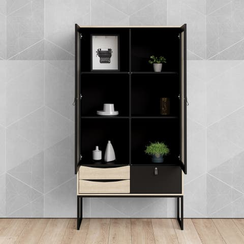 Carson Carrington Black Matte and Oak Structure 2-Door China Cabinet with 3-Drawers