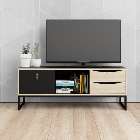 Carson Carrington Stubbe Black Matte and Oak Structure 3-Drawer TV Stand
