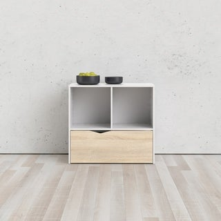 Carson Carrington Kristiansund White and Oak Structure 1-Drawer Bookcase