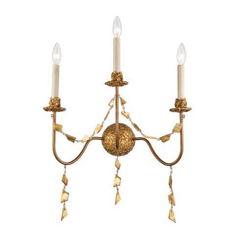 Mosaic 3-Light Flambeau Inspired Wall Sconce in Antique Gold