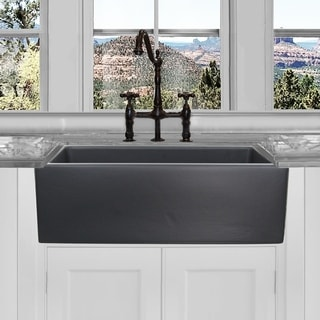 Highpoint Collection Reversible 30-inch Fireclay Farmsink Matte Black