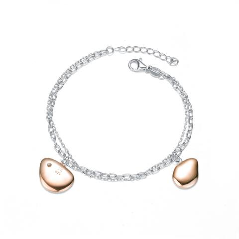 Collette Z Sterling Silver with Rose Gold Plated Charms Link Bracelet