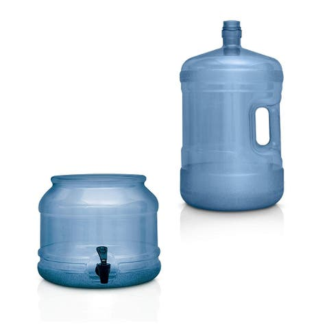 BPA FREE Water Dispenser Base with Spigot & 3 Gallon Water Bottle Set Transparent Blue - For Countertops or Stands Complete Set
