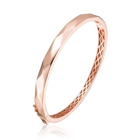 Collette Z Sterling Silver with Rose Gold Plating Bangle Bracelet