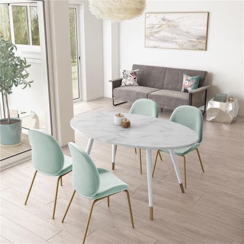 CosmoLiving by Cosmopolitan Amari Faux Marble Oval Dining Table