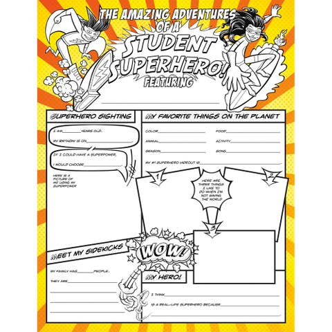 North Star Teacher Resources Fill Me in Student Superhero, Pack of 32