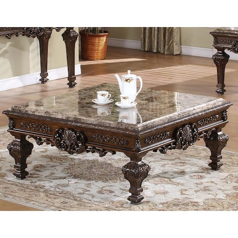 Best Master Furniture Cherry Finish/ Marble Coffee Table