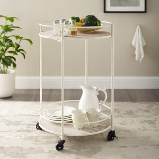 Link to Presque 2 Teir Round Rolling Metal and Wood Bar Cart Similar Items in Home Bars