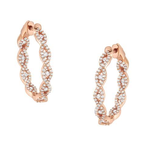 10K Rose Gold 1ct TDW Diamond Hoop Earring (H-I, I1-I2)
