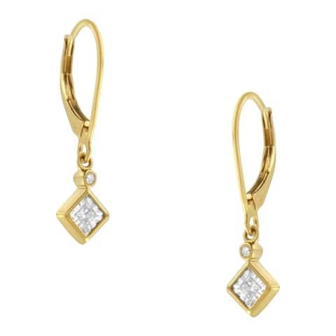 2 Micron 14K Yellow Gold Plating 1/3ct TDW Diamond Dangle Earrings (J-K, I1-I2)