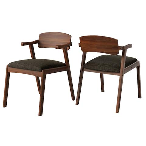Carson Carrington Comiskey Cherry Finish Arm Dining Chair with Back (Set of 2)