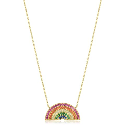Yellow Gold Over Sterling Silver Rainbow Necklace (18 Inches)