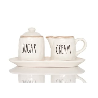 Red Vanilla Countryside Sugar and Cream Set on Tray