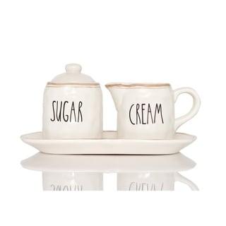 Red Vanilla Countryside Sugar and Cream Set on Tray