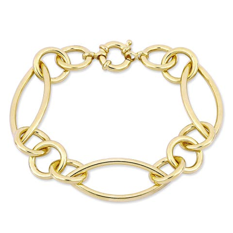 Miadora Yellow Plated Sterling Silver Multi-Oval Link Bracelet