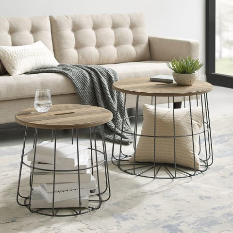 Berwick Metal and Wood Nesting Basket Tables