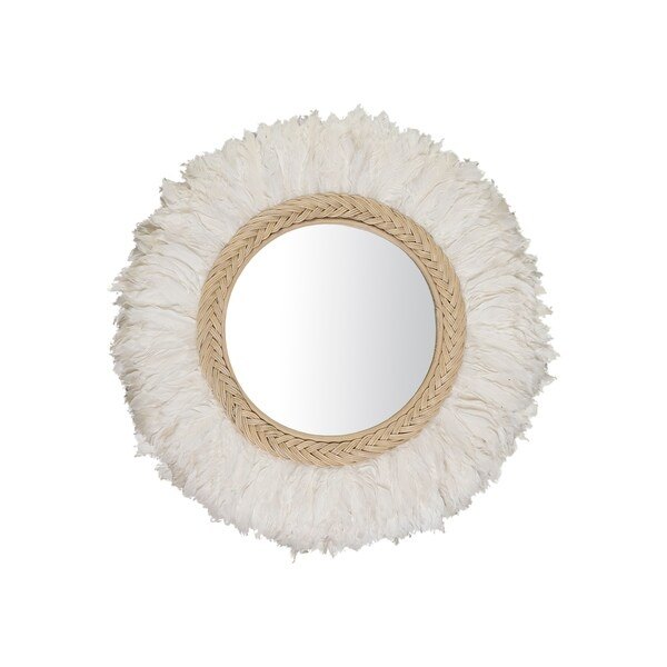 "East at Main Brandi Feather Mirror - White - 30"" x 4"" x 30"""
