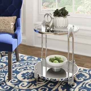 Sofiya Chrome Finish Side Table With Mirror Bottom And Glass Top by iNSPIRE Q Bold