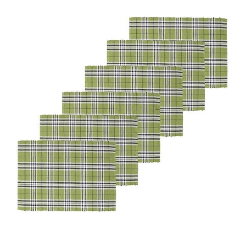 Max Plaid Tarragon Placemat Set of 6 - 13 x 19