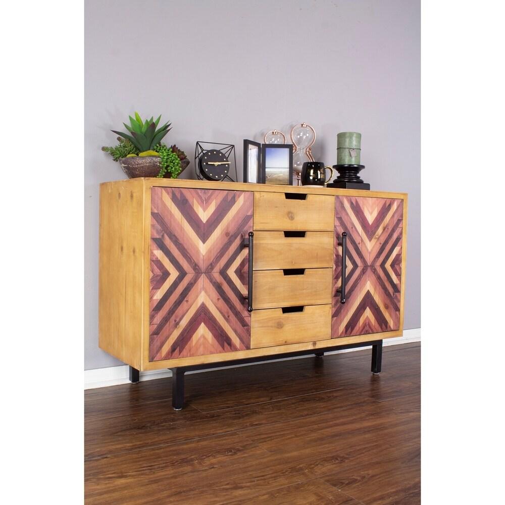 Overstock Jackson Mid Century Modern 4 Drawer/ 2 Door Wood Sideboard Buffet