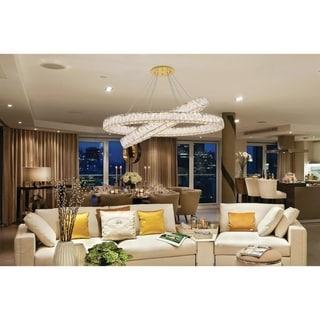 Luminere Crystal Matte Gold 8 LED Lights Chandelier