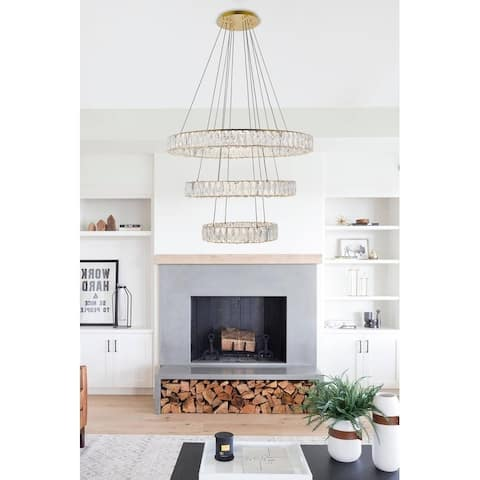 """Madelyn Integrated LED chip light gold Chandelier Clear Royal Cut Crystal - 31.5""""W X 21""""H"""