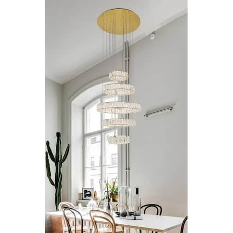 """Madelyn Integrated LED chip light gold Chandelier Clear Royal Cut Crystal - 25.6""""W X 39""""H"""